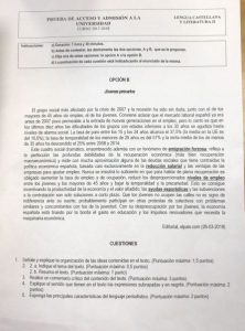 Selectividad 2018 Andalucía