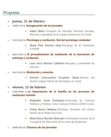 Programación de las IIJornadas sobre Arbitraje y Mediaciónde Ceuta