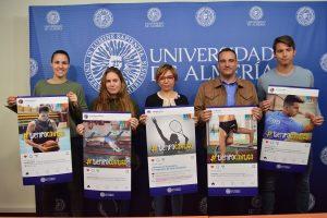 Estudiantes, vicerrectora y director de Deportes presentan la campaña #TiempoContigo de UAL Deportes.