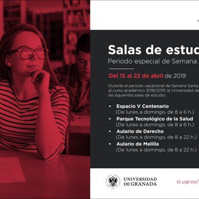 Apertura de salas de estudio nocturnas en Semana Santa en la Universidad de Granada