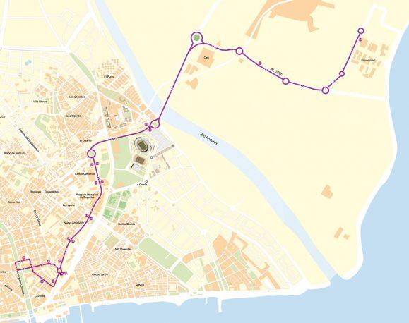 Mapa completo del recorrido de la L19 .