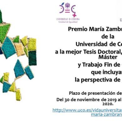 La UCO convoca el Premio María Zambrano a los mejores trabajos que incluyan la perspectiva de género