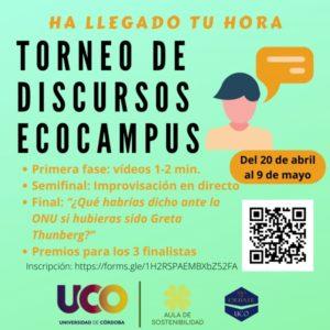 El Aula de Debate y el Aula de Sostenibilidad de la UCO convocan el I Torneo de Discursos Ecocampus