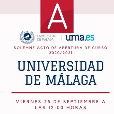 Aula Magna emitirá vía streaming el Acto Solemne de Apertura Oficial del Curso 20/21 de la UMA