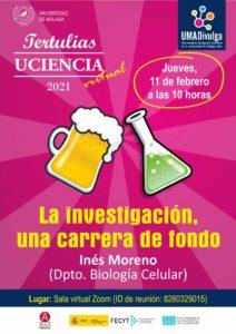 Este jueves 11 de febrero a las 19:00 horas, Aula Magna organiza junto a la Unidad de Cultura Científica y de la Innovación de la Universidad de Málaga la Tertulia de UCiencia virtual 'La investigación, una carrera de fondo'