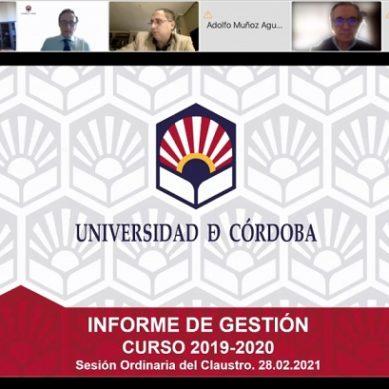 El rector presenta su memoria de gestión al Claustro de la UCO