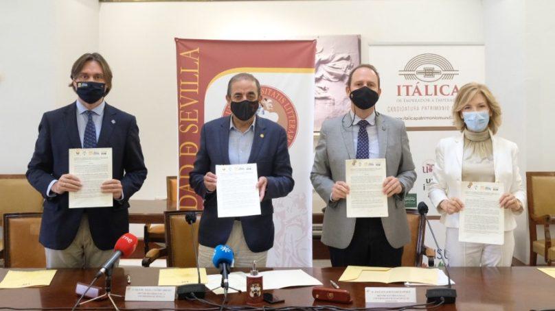 La US, la UPO y la UNIA firman un convenio para apoyar la candidatura de Itálica como Patrimonio Mundial de la UNESCO